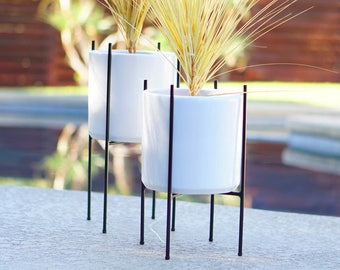 2 Medium Mid Century Planters and Stands Staggered Pair Modern Quad Steel or Walnut & Ceramics -  Eames Era Vintage Style Pottery Planters