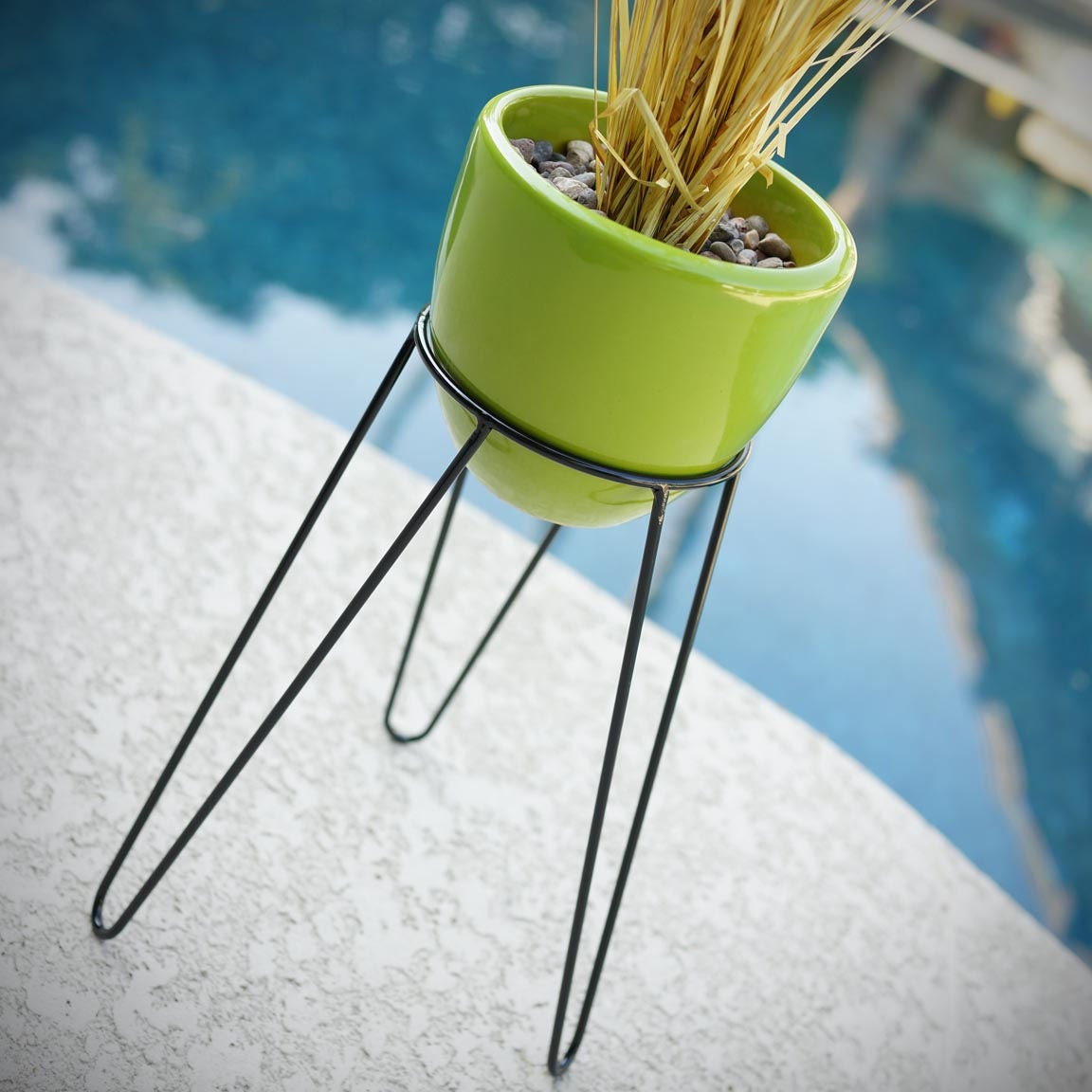 mid century planter with stand 14 modern tripod hairpin etsy. Black Bedroom Furniture Sets. Home Design Ideas