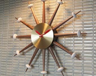 Starburst Clock Modern Large Wall - Sunburst Atomic Sputnik Eames Era Mid Century Vintage-Style 1950's 60s Walnut Brass Starflower FREE SHIP