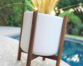 "Mid Century Planter with Stand 9"" T Modern Quad Base Walnut & Ceramic - Eames Era Bullet Vintage Style Pottery with Pot IP"