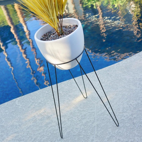 mid century planter with stand 29 large modern tripod etsy. Black Bedroom Furniture Sets. Home Design Ideas