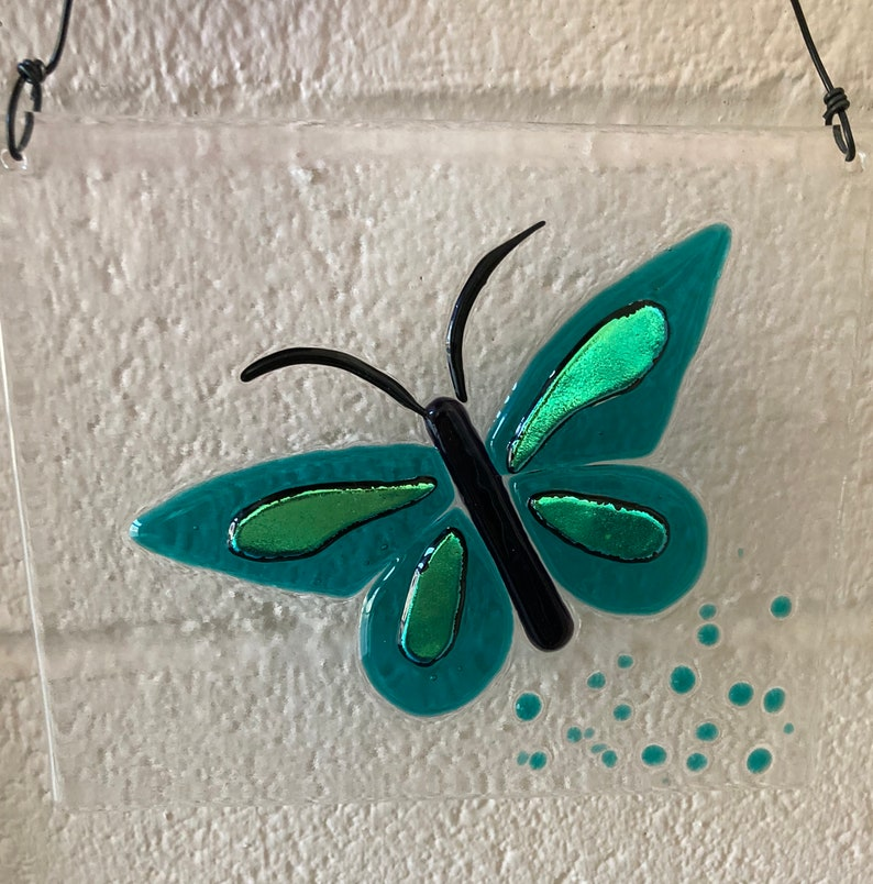 Butterfly Art Window Hanging Fused Glass Art Garden Art Sun Catcher