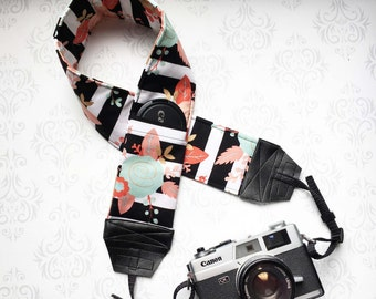 DSLR Camera Strap, Padded with 2 Lens Cap Pockets, Nikon, Canon, DSLR Photography, Photographer Gift,  - Striped Floral Vintage
