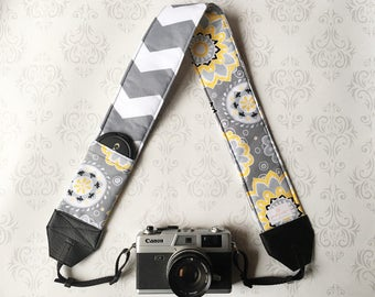 DSLR Camera Strap, Padded with Lens Cap Pocket, Nikon, Canon, DSLR Photography, Photographer Gift, Wedding - Yellow Flowers and Gray Chevron