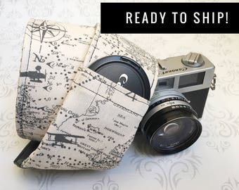READY TO SHIP - Camera Strap, dslr Camera Strap, Lens Cap Pockets, Nikon or Canon Camera, Christmas Gift, Photographer Gift - Maps