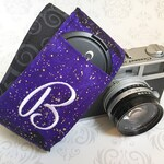 Camera Strap, Personalized Camera Strap, Padded with Lens Cap Pocket, Nikon, Canon, DSLR Photography, Photographer - Purple Galaxy & Scroll
