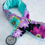 Padded Stethoscope Cover - Nurse, Doctor, Nursing Student, Medical Assistant -  Gift for Nurse - Purple Flowers with Aqua Minky