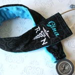 Personalized Stethoscope Cover, Registered Nurse, Gift for Nurse, Veterinarian Gift, EMT, Paramedic, Vet Tech - Black Scroll with Teal