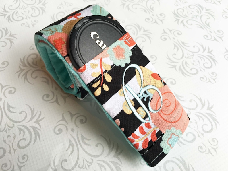 Camera Strap Cover Padded with Lens Cap Pocket and Minky image 0