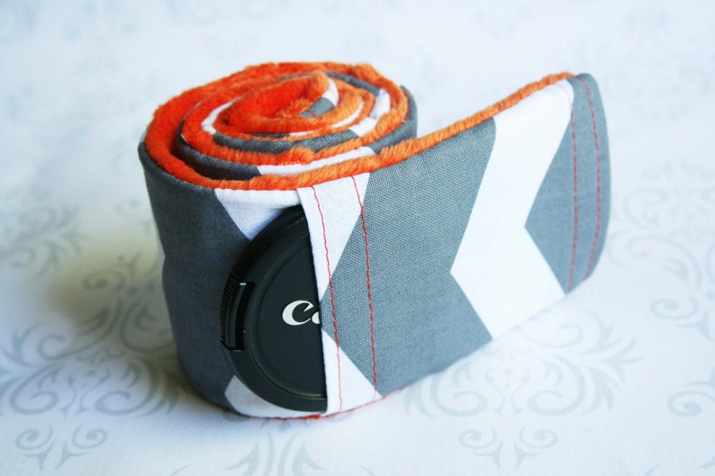 Camera Strap Cover with Lens Cap Pocket  Padded Minky  Gray image 0