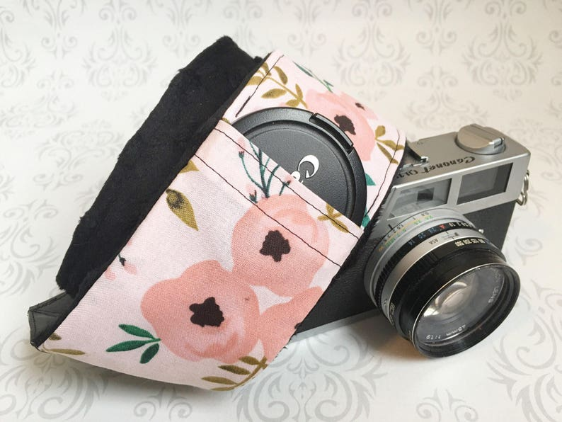 DSLR Minky Camera Strap Padded with Lens Cap Pocket Nikon image 0