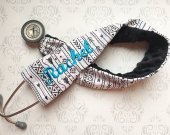 Embroidered Stethoscope Cover, Stethoscope ID Tag, RN, Nurse,  Doctor, Medical Assistant, Nurse Gift, Name Tag - Tribal Black with Turquoise
