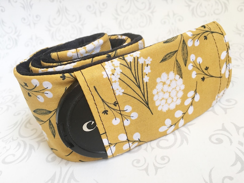 Camera Strap Cover with Lens Cap Pocket Padded Minky  Gift image 0