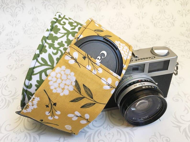 Vintage Style DSLR Camera Strap Padded Lens Cap Pocket image 0