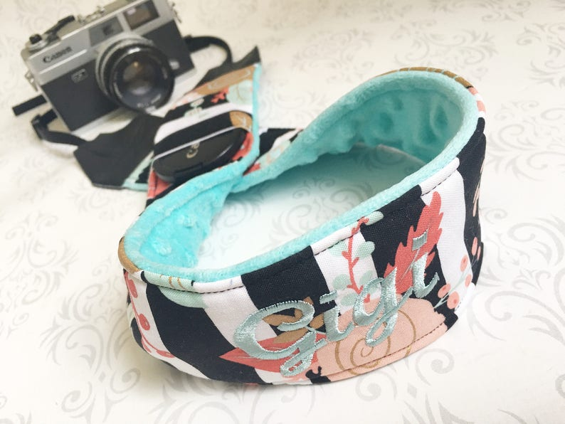 Personalized DSLR Minky Camera Strap Padded with Lens Cap image 0