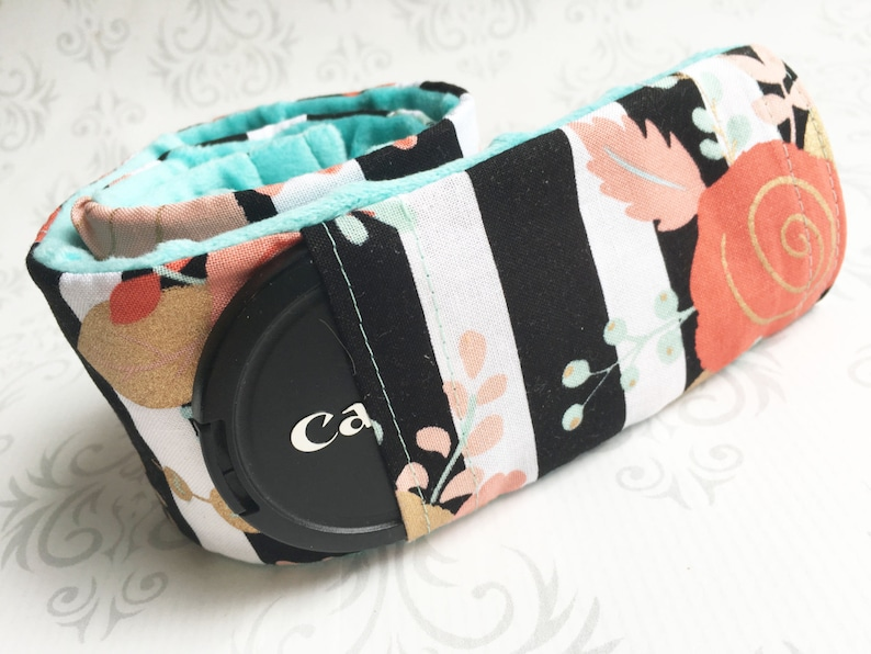 Camera Strap Cover with Lens Cap Pocket  Padded Minky DSLR image 0