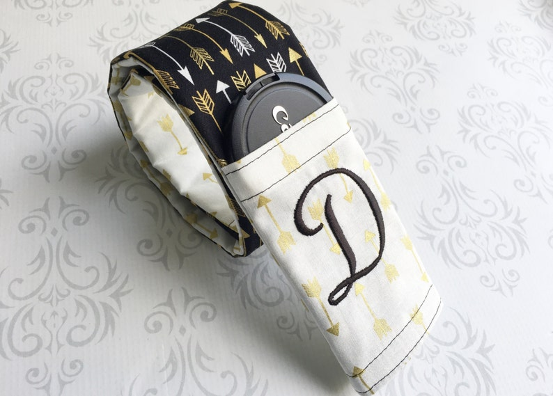 Embroidered Reversible Camera Strap Cover with Lens Cap Pocket image 0