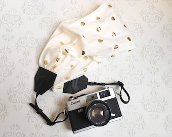 Scarf Camera Strap, DSLR Camera Strap, Soft and Silky, Nikon, Canon, DSLR Photography,  Photographer Gift - Gold Metalic Dots