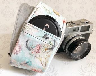 DSLR Minky Camera Strap, Padded with Lens Cap Pocket, Nikon, Canon, DSLR Photography, Photographer Gift - Bogo Blue with Gray