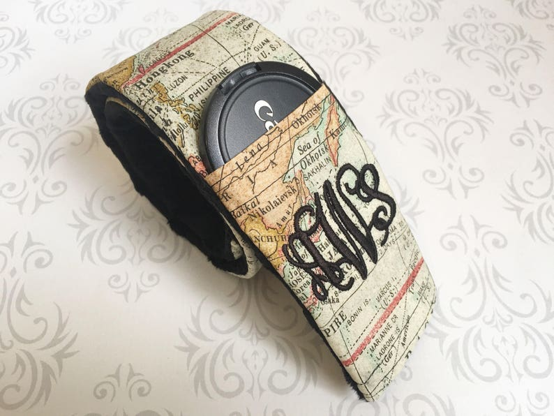 Monogrammed Camera Strap Cover Padded with Lens Cap Pocket and image 0
