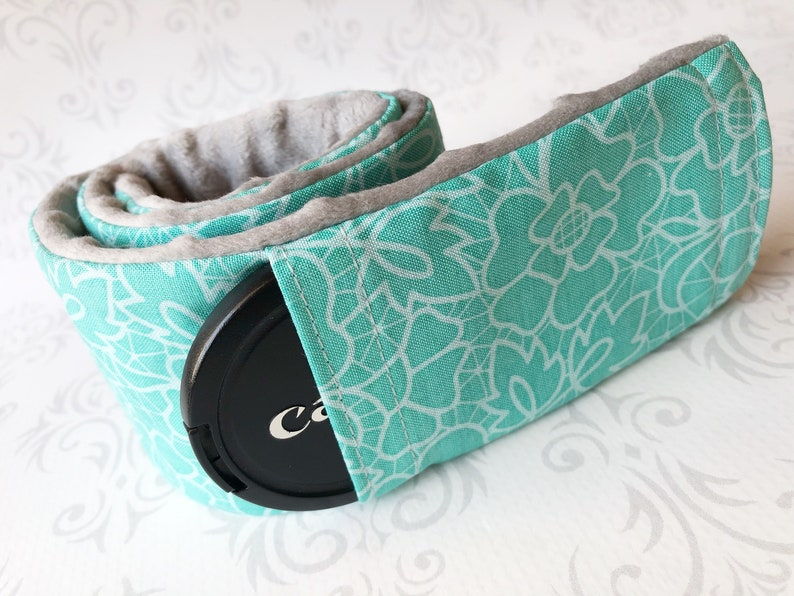 Camera Strap Cover with Lens Cap Pocket Padded Minky image 0