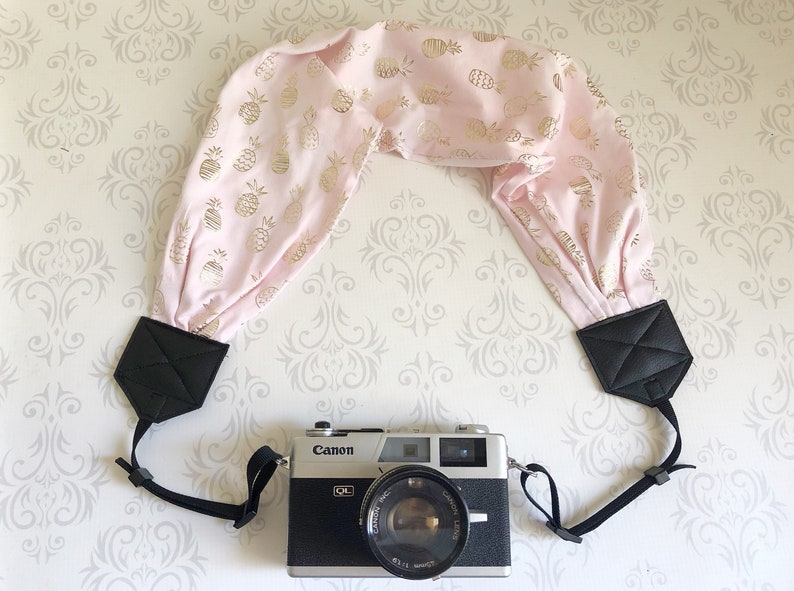 Scarf DSLR Camera Strap Photographer Gift   Pink and Gold image 0