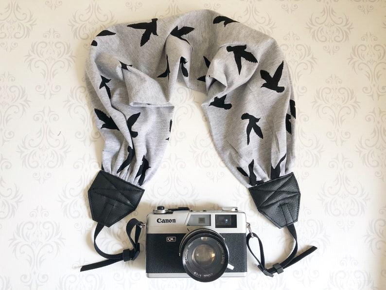 Scarf DSLR Camera Strap Photographer Gift   Black Birds image 0