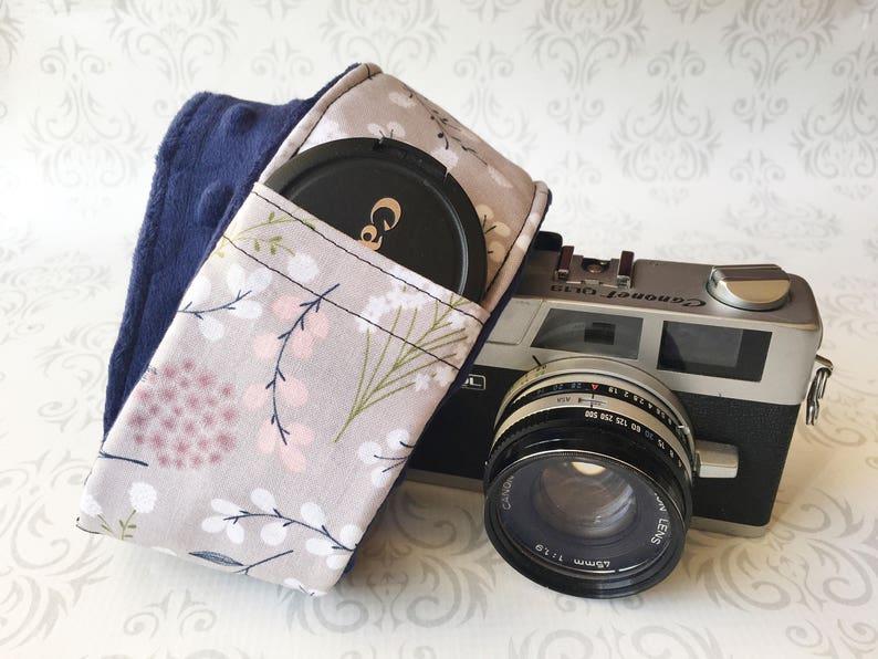 DSLR Minky Camera Strap Padded with Lens Cap Pocket Nikon image 0
