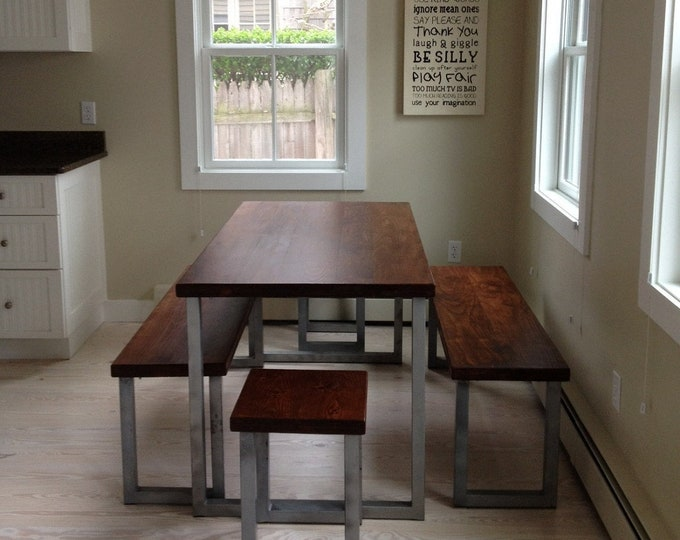 Industrial Farmhouse Table Industrial Dining Set Wood Dining Table Wood Table Kitchen Island Maple Wood Table Metal Table Legs