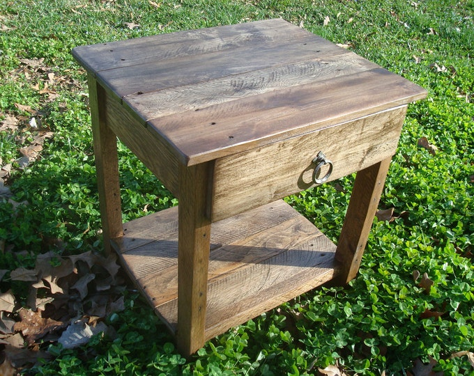 Reclaimed Wood Side Table Rustic Wood Table Pallet Wood Table