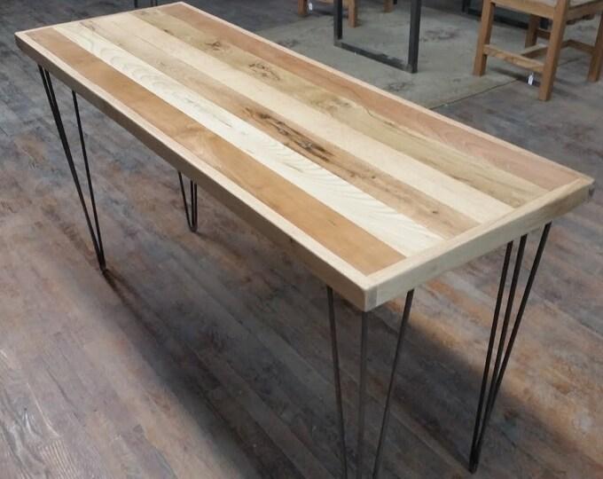 Reclaimed Wood Table Reclaimed Wood Desk Mixed Wood Steel Legs Hairpins