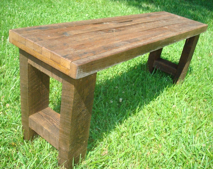 Wood Bench Gnarly Bench Rustic Reclaimed Wood Bench Farmhouse Bench Furniture Console Table Entryway Bench