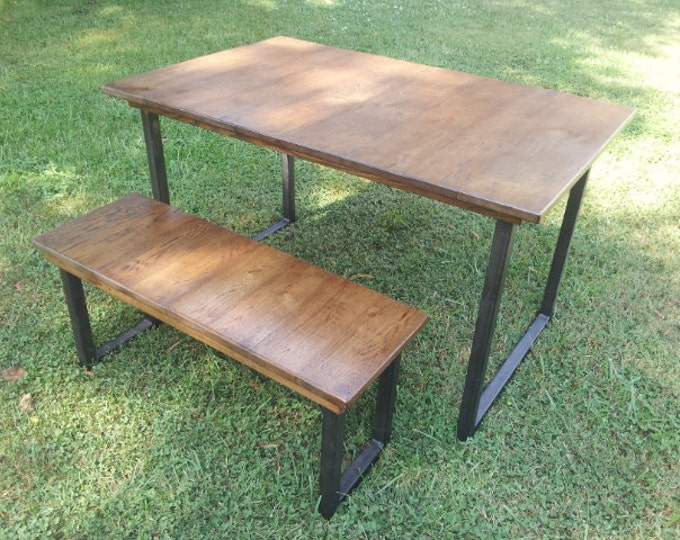 Reclaimed Wood Table with Steel Legs Rustic Wood Dining Table Rustic Wood Table Metal Legs