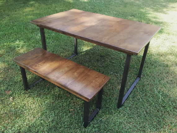 Reclaimed Wood Table and Bench Dining Set with Metal Table Legs Dining  Table Metal Legs Wood Furniture Farmhouse Table