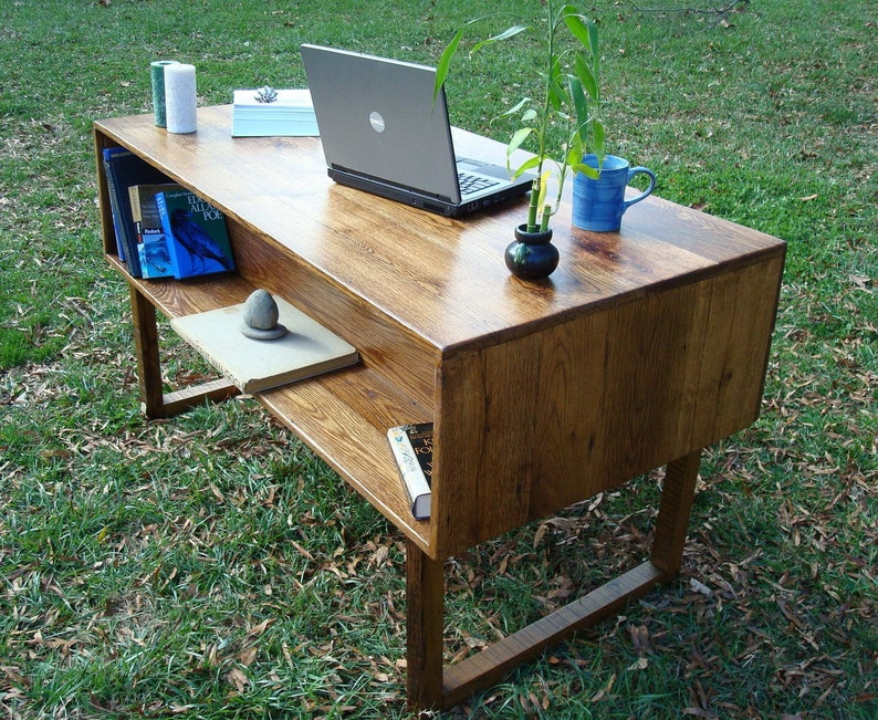 Reclaimed Wood Office Desk Executive Desk Mid Century Modern image 0