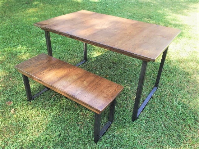 Reclaimed Wood Table and Bench Dining Set with Metal Table ...