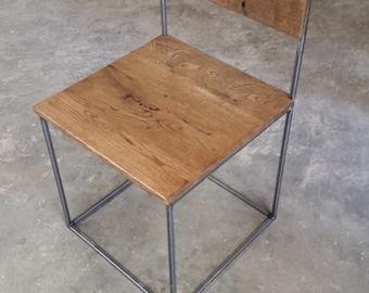 Metal and Wood Chair Metal Chair Steel Chair Reclaimed Wood Chair Industrial Chair