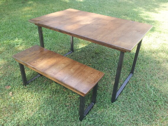 Reclaimed Wood Table With Steel Legs Rustic Wood Dining Table Etsy