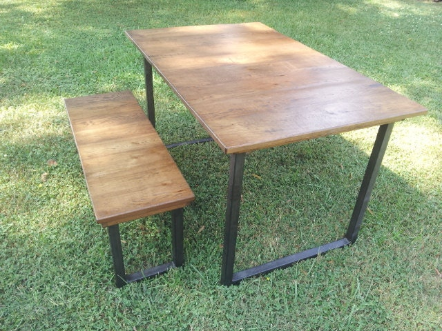 Reclaimed Wood Table with Steel Legs Rustic Wood Dining ...