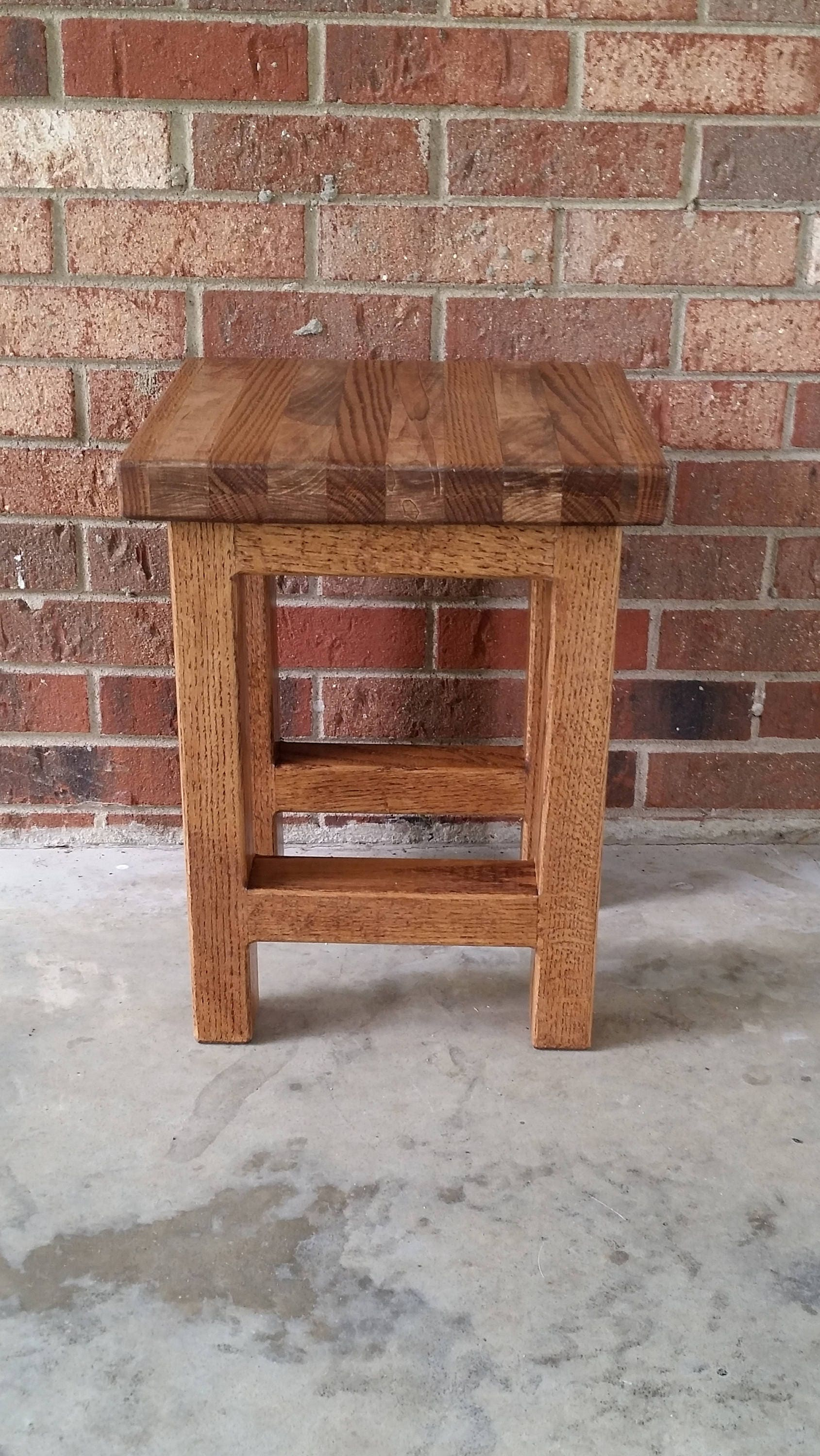 Stool Bedside Table: Wood Stool, Wood Side Table, Rustic Wood Stool, Reclaimed