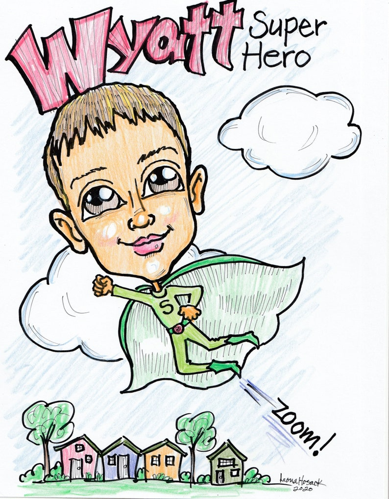 Mother/'s Day Comics Kidcon Custom Hand-DrawnSuperhero Caricature Cosplay