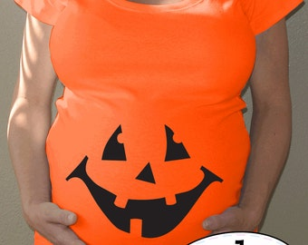 cb5c395391068 Pumpkin Maternity orange Halloween shirt - jack o'lantern face with or  without hairbow - maternity costume, limited edition
