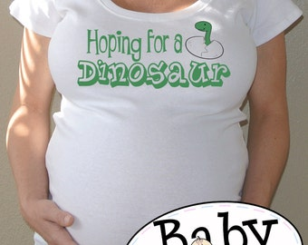 8b2ddcac6 Hoping it's a dinosaur Maternity shirt - customizable - funny pregnancy  announcement plus size available