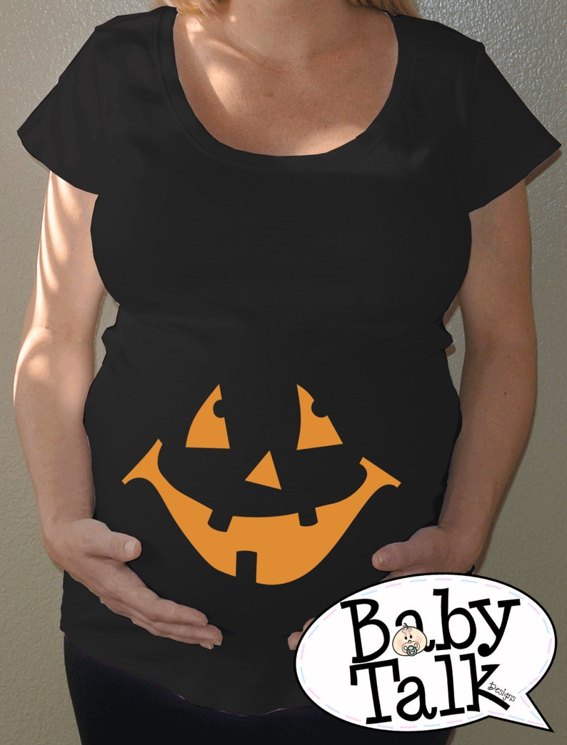 cc34f3b6e77a7 Pumpkin Maternity Halloween shirt black with orange face | Etsy