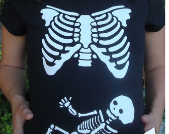 Skeleton Maternity xray halloween DIY Iron On Applique costume available in boy, girl, neutral, twins, triplets, family or couples costume