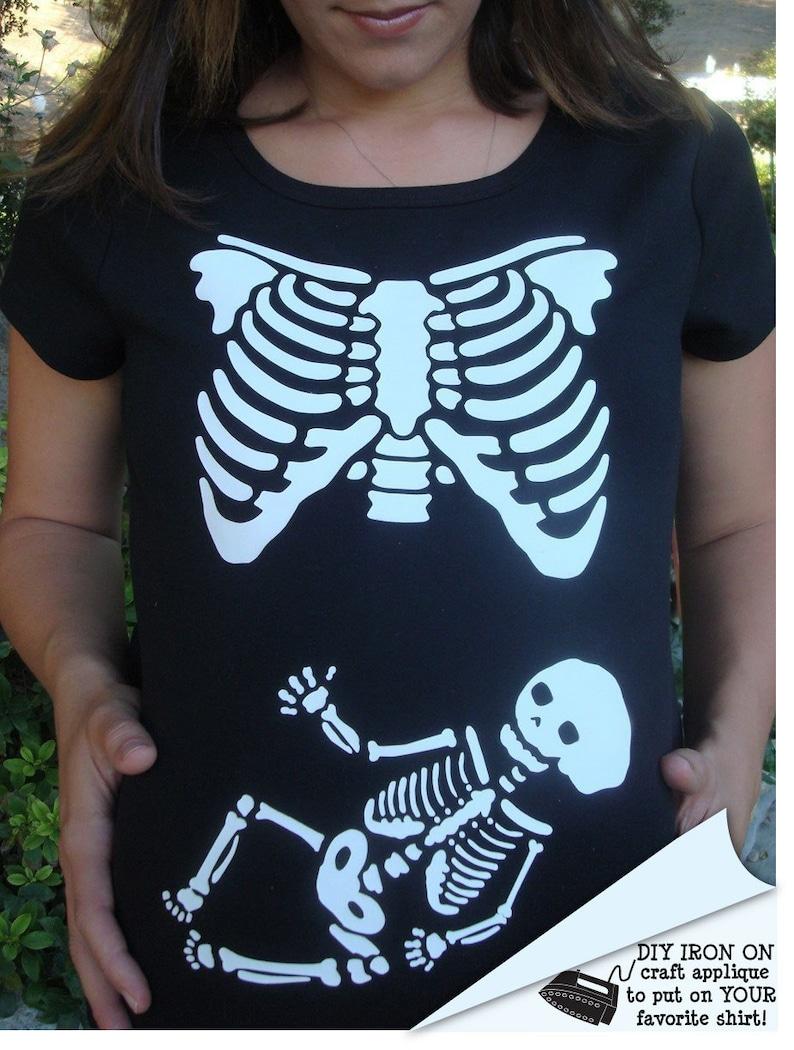 1455dca19de7b Skeleton Maternity xray halloween DIY Iron On Applique costume   Etsy