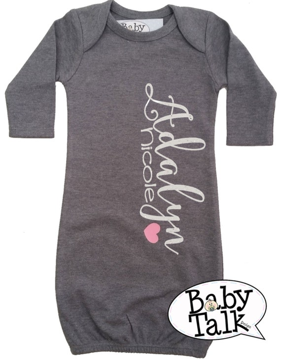 Baby Layette Gown personalized custom glitter name Birth   Etsy