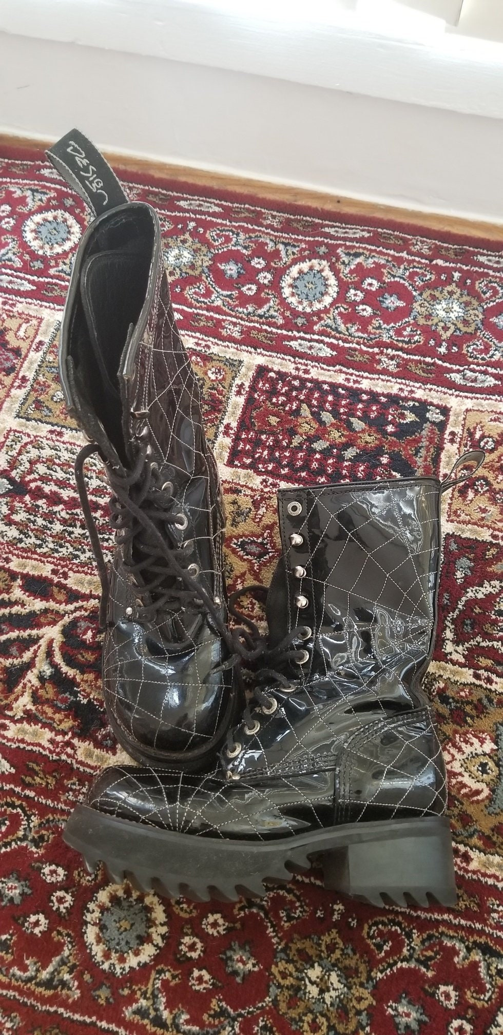57d2f5fab4acd Vintage Patent Leather Spiderweb Combat Boots by MURO 90s Size 7 Womens