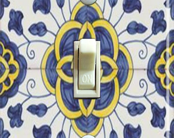 Vintage Blue, Yellow and White Tile (Faux) Single Double Switch Plate