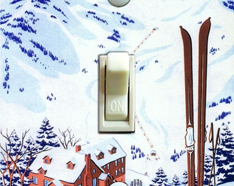 SKI ALTA Vintage Ski Poster, Switch Plate Cover, Wall Plate, Single/Double/Rocker, Home Decor